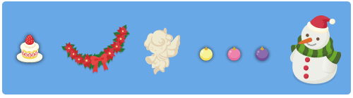 クリスマスケーキ小・ガーランドポインセチア・エンジェル飾り・クーゲル山吹・クーゲル桃・クーゲル紫・雪だるま中