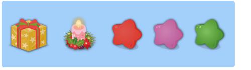 プレゼント角黄・リース付キャンドル・星クッション赤・星クッション紫・星クッション緑