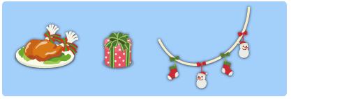 チキン・プレゼント円筒赤小・ガーランド雪だるま
