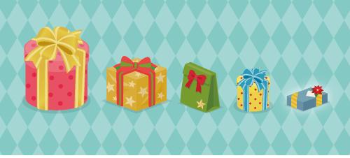プレゼント円筒赤大・プレゼント角黄・プレゼント袋緑・プレゼント円筒黄・プレゼント角青