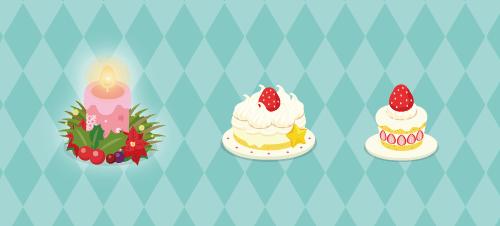リース付キャンドル・クリスマスケーキ中・クリスマスケーキ小
