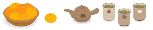 みかん籠・みかん1個・急須猫フェイス茶×茶・湯呑み猫の手生成×紅・湯呑み猫の手茶×茶・湯呑み猫の手茶×白