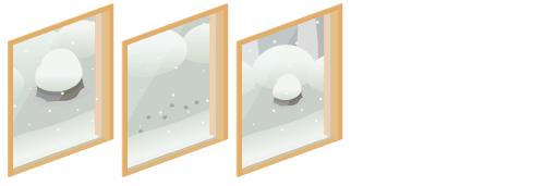 雪の日本庭園が見える窓1・雪の日本庭園が見える窓2・雪の日本庭園が見える窓3
