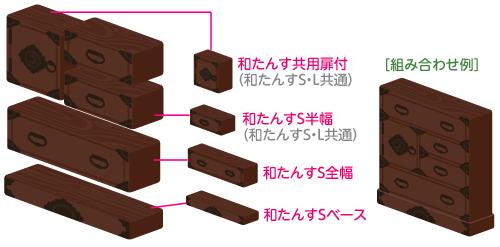和たんすSベース・和たんすS全幅・和たんすS半幅・和たんす共用扉付