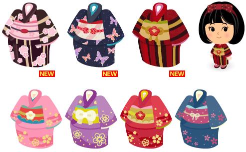着物 茶縞に桜、着物 藍に蝶、着物 紅縞、着物 ピンク、着物 紫、着物 赤、着物 青