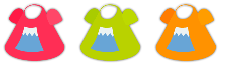 富士山Tシャツピンク、富士山Tシャツ黄緑、富士山Tシャツオレンジ