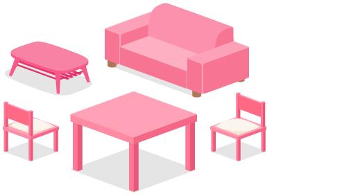 ローテーブルピンク・カジュアルソファピンク・ダイニングチェアピンク背・ダイニングテーブルピンク・ダイニングチェアピンク