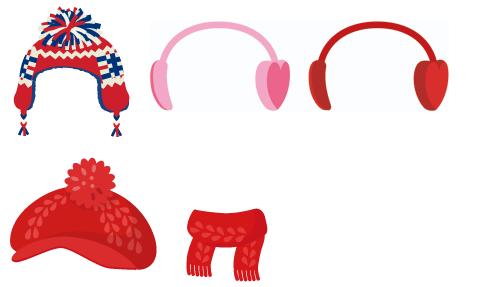 ユニオンジャックニット帽・ハートの耳あて ピンク・ハートの耳あて 赤・ニットキャスケット赤・ニットマフラーフリンジ赤