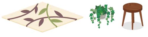 リーフ柄ラグ・鉢植えアイビー・ウッドスツール濃茶