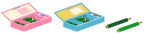 とびだす筆箱ピンク・とびだす筆箱ブルー・鉛筆HB・鉛筆2B