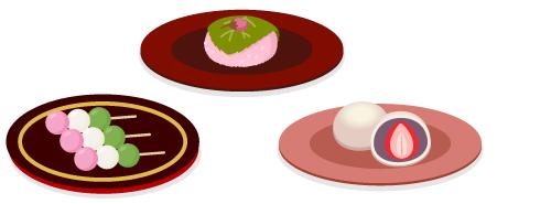 三色だんご・桜餅・いちご大福