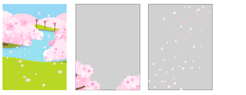背景:桜が淵昼・前景桜フレーム・桜吹雪フレーム
