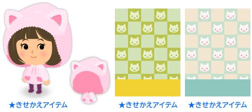 猫耳パーカーピンク・背景:市松猫菜の花・背景:市松猫ターコイズ
