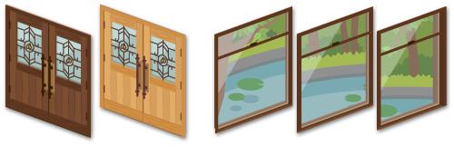 カフェドア 濃茶・カフェドア 薄茶・池の見える窓 1・池の見える窓 2・池の見える窓 3
