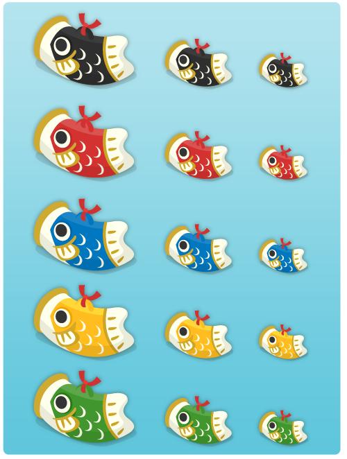 鯉のぼり置物大(各色)・鯉のぼり置物中(各色)・鯉のぼり置物小(各色)