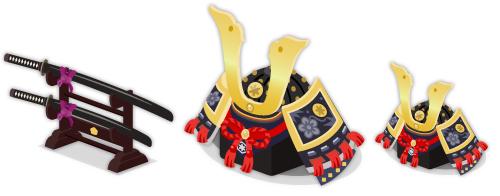 日本刀掛台・兜飾り大・兜飾り小