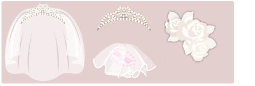 ティアラ&ベール、パールティアラ、ベールヘッドドレス、バラの髪飾り 白