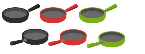 フライパン黒背・フライパン赤背・フライパン緑背・フライパン黒・フライパン赤・フライパン緑