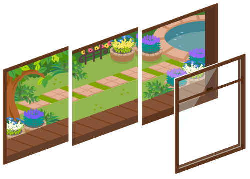 初夏の庭が見える窓1・初夏の庭が見える窓2・初夏の庭が見える窓3・窓ガラス