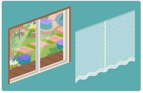 初夏の庭が見える掃出窓・レースカーテン白閉