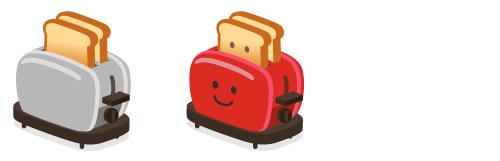 トースターシルバー・トースタースマイル赤