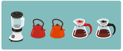 ジュースミキサー・ほうろうケトル赤・ほうろうケトルオレンジ・コーヒーサーバー赤・コーヒーサーバー黒