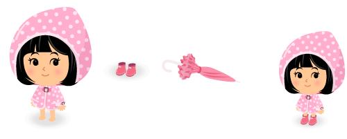 レインポンチョピンク・レインブーツピンク・フリル傘ピンク