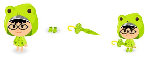 カエルレインコート・レインブーツ黄緑・フリル傘黄緑
