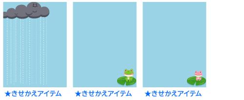 雨雲さんフレーム・右蓮カエル緑フレーム・右蓮カエル桃フレーム