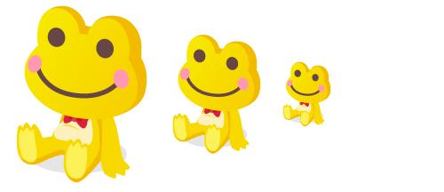 カエルぬいぐるみ黄大・カエルぬいぐるみ黄中・カエルぬいぐるみ黄小