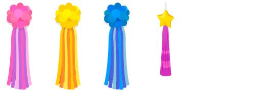 吹き流しピンク・吹き流し黄・吹き流し青・吹き流し星