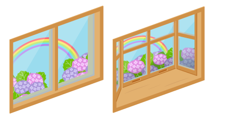 あじさいの見える小窓・あじさいの見える出窓