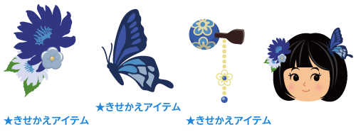 和風髪飾り 青花・和風髪飾り 青蝶・かんざし 青