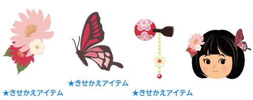 和風髪飾り 赤花・和風髪飾り 赤蝶・かんざし 赤