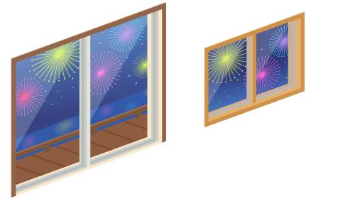 花火の見える掃出窓・花火の見える小窓