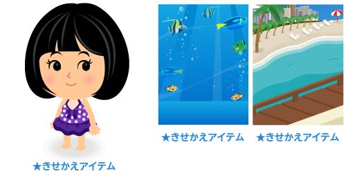 水着ワンピ紫・背景:熱帯魚・背景:ビーチの窓辺から