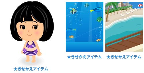 水着ボーダー紫・背景:熱帯魚・背景:ビーチの窓辺から