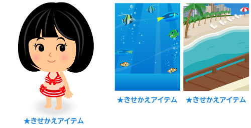 水着ボーダー赤・背景:熱帯魚・背景:ビーチの窓辺から