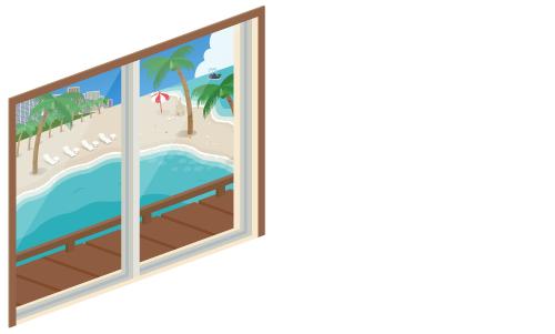 海の見える掃出窓
