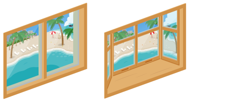 海の見える小窓・海の見える出窓