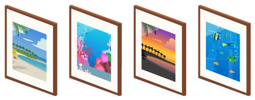 壁掛フレームビーチ・壁掛フレーム珊瑚・壁掛フレームサンセット・壁掛フレーム熱帯魚