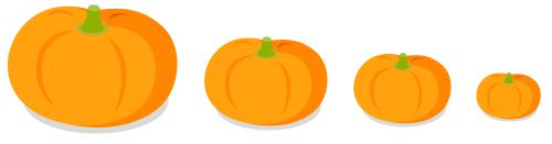 顔なしかぼちゃ大・顔なしかぼちゃ中・顔なしかぼちゃ小・顔なしかぼちゃプチ