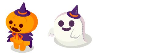 かぼちゃ人形紫・ゴーストぐるみスマイル