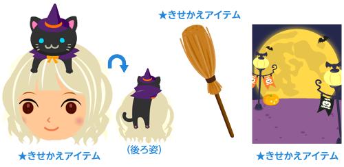 頭のせ魔女っこ猫・魔法のほうき・背景:月の遊園地