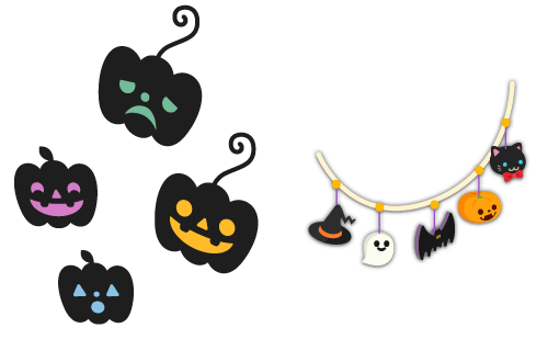 ウォールデコかぼちゃ緑・ウォールデコかぼちゃ黄・ウォールデコかぼちゃ桃・ウォールデコかぼちゃ青・ガーランドかぼちゃ色×黒