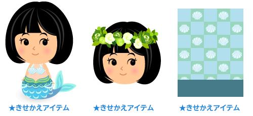 人魚姫セットブルー・花冠グリーン・背景:市松貝殻ブルー