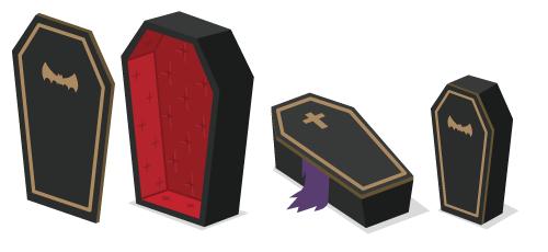 クラシック棺桶:ふた・クラシック棺桶・ミニ棺桶横・ミニ棺桶縦