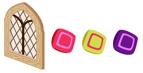 尖頭アーチ窓・角型ピローピンク・角型ピロー黄・角型ピロー紫