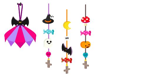 吊るし飾りハロウィン笠・吊るし飾りゴースト・吊るし飾りコウモリ・吊るし飾りカボチャ
