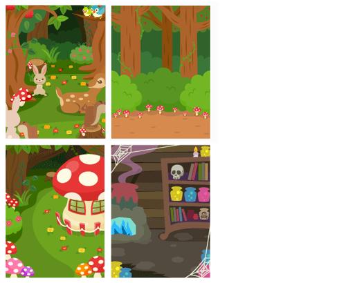 背景:森の動物たち、森の中、こびとの家、魔女の家